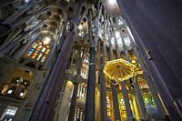 Sagrada Familia Cathedral interior. Barcelona, Catalonia, Spain