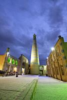 The Islam Khodja minaret and medressa. Old town of Khiva (Itchan Kala), a Unesco World Heritage Site. Uzbekistan.