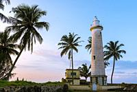 Lighthouse and Palm Trees in Galle Fort at Sunrise, Old Town of Galle and its Fortifications, Southern Province, Sri Lanka, Asia.