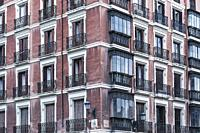 Apartment building detail, Madrid, Spain.