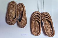 Straw slippers in Museum of Folk Culture in Wegorzewo town, Warmian-Masurian Voivodeship of Poland.