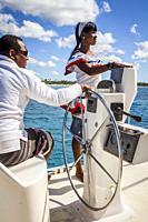 Crew of catamaran, journey in Saona island, Dominican Republic, West Indies,.