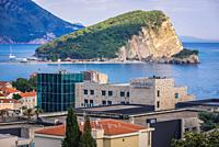 Hotel Avala and Sveti Nikola Island in Budva city on the Adriatic Sea coast in Montenegro.