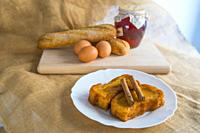 Torrijas with ingredients. Holy Week traditional cakes, Spain.