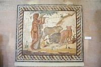 Europe, Greece, Peloponnese, ancient Corinth, Archaeological museum, mosaic from a floor of a roman villa representing a pastoral scene.