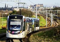 View of Edinburgh Tram linking Edinburgh Airport with the city centre, Scotland, United Kingdom.