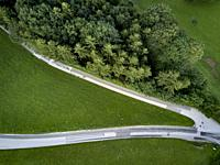 Aerial view made with a drone in a rural area in the Austrian Alps.