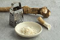 Grated fresh picked homegrown horseradish.