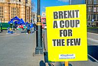 London, England, UK. Daily Anti-Brexit protest opposite the Houses of Parliament, organised by Steve Bray and others.