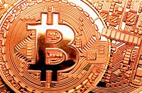 Bitcoin cryptocurrency / payment system (Copper Bitcoin Commemorative Round . 999 bullion) Electronic currency - with connections.