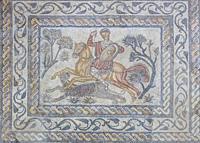 Merida, Spain: Panther hunter roman mosaic or Venatio. National Museum of Roman Art in Merida, Spain.