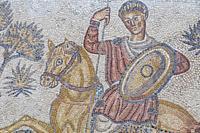 Merida, Spain: Panther hunter roman mosaic, detail. National Museum of Roman Art in Merida, Spain.