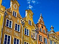 Roof lines of classic buildings in Gdansk, Poland.