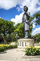 The Louis Riel statue on the Assiniboine river near the Manitoba Legislative buildings in Winnipeg, Manitoba, Canada.