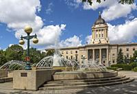 The Riverfront Promenade behind the Manitoba Legislative buildings in Winnipeg, Manitoba, Canada.