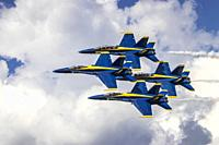 The Blue Angels air acrobatic team during Airshow in Duluth, Minnesota, USA.