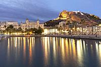 Skyline of the city of Alicante from its port dusk in winter.