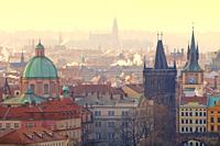 Czech Republic, Prague - Spires of the Old Town at Sunrise.