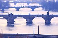 Czech Republic, Prague - Bridges over Vltava River in Morning Light.
