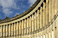 UK, England, Somerset, Bath, World Heritage City, historic terraced houses in The Royal Crescent.