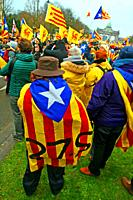 Catalan flags, Catalan independence movement, December 2017, Brussels, Belgium