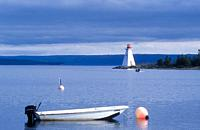 Lighthouse at baddeck on cape breton island in nova scotia.