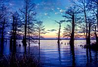 Sunset at Reelfoot Lake in Tennessee.