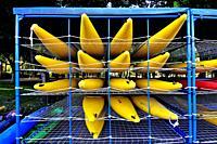 Kayaks. La Seu d´Urgell waterpark. Lleida, Catalonia, Spain