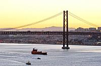 25 de Abril bridge and the Tagus river, Lisbon. Portugal.