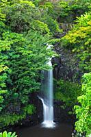 Waterfall on the Hamakua Coast, The Big Island, Hawaii USA.