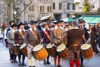 Fête de l'Escalade. Traditional festival Escalade ceremony is held every year on December 11th and 12th, Old town, historic center. Geneva. Switzerlan...