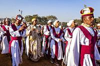 A Procession Of Ethiopian Orthodox Christians Arrive At The Jan Meda Sportsgound To Celebrate Timkat (Epiphany), Addis Ababa, Ethiopia.