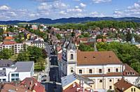 Klatovy, Czech Republic - view over the Old Town and the Dominican Monastery Church of St. Lawrence.