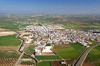 aerial view andalusian town, Herrera, Sevilla, Andalusia