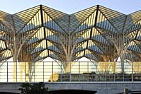 Oriente Station, designed by the architect Santiago Calatrava. Lisbon, Portugal.