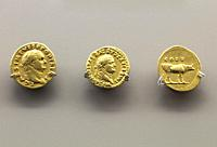 Merida, Spain: Three golden coins of Titus Emperor at National Museum of Roman Art in Merida, Spain.