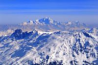 Monte Blanc 4810m, Panoramic View, Snow Scenery, Haute Savoie, Trois Vallees, Three Valleys, Ski Resort, France, Europe