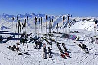 Ski Poles and Helmets, Skis on Snow, Ski Equipment in Snowy Mountain Scene, Haute Savoie, Trois Vallees, Three Valleys, Ski Resort, France, Europe