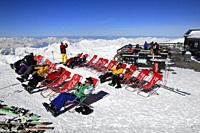 Sun Lounger at Mountain Retaurant, Cime de Caron 3195m, Val Thorens, Haute Savoie, Trois Vallees, Three Valleys, Ski Resort, France, Europe