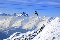 Glacier Du Bouchet, La Tyrolienne 3230m to 3002m, World's highest Zip-Line, Zip Wire Location, €50 per Person, Mountain Range, Haute Savoie, Trois Val...