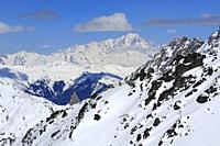 Monte Blanc 4810m, Mountain Range, Snow Scenery, Haute Savoie, Trois Vallees, Three Valleys, Ski Resort, France, Europe