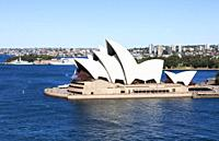 Sydney Opera House from Harbour Bridge, Sydney, Australia.