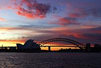 Sydney Opera House and Harbour Bridge at Sunset, Sydney, Australia.