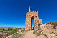 famous tower known as La Martina, landmark and public monument from Arab age, in top of old town of Ayllon village, Segovia, Spain, Europe.
