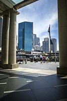 View of high rise buildings sitting above the transport terminals of Circular Quay, Sydney Harbour, Sydney, NSW, Australia.