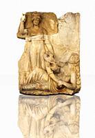 Roman temple releif sculpture of Roma, Aphrodisias Museum, Aphrodisias, Turkey.