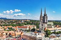 The Cathedral of Zagreb is one of the highest buildings in Croatia. The steeples are 105 metres high, Zagreb, Croatia, Europe.
