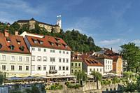 View from the old town of Ljubljana over the river Ljubljanica to the castle of Ljubljana. The Ljubljana Castle is a powerful medieval fortress and th...