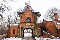Gateway of former palace in Palace Park in Bialowieza village located in the middle of Bialowieza Forest, Podlaskie Voivodeship of Poland.