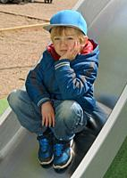 Boy, 5 years old, in a playground in Ystad, Scania, Sweden.